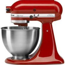 This Red Kitchen-Aid mixer makes me swoon! I want my kitchen to be all Black, Silver & Red.
