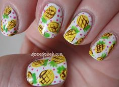Dees Polish Endeavours: Pineapple Mani + Summer Nail Art Challenge Entry