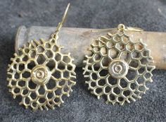 Fair trade Cambodia. Jewelry made from Recycled Brass Bullet Shell Bee hive pattern Earrings, www.craftworkscambodia.com
