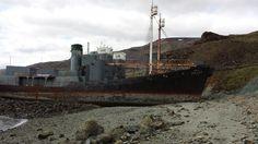 Whaling vessels Hvalur 6 & 7 which were sunk by activists Rod Coronado and David Howitt in 1986, Hvalfjörður.