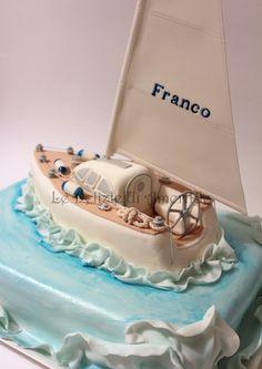 Le Delizie di Amerilde. Navy style. Sail boat cake from www.ledeliziediamerilde.it