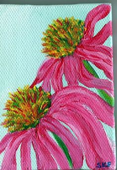 Echinacea Original painting on canvas with mini by SharonFosterArt, $20.00