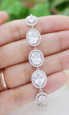Halo Style Lux cubic zirconia Bridal Bracelet from EarringsNation