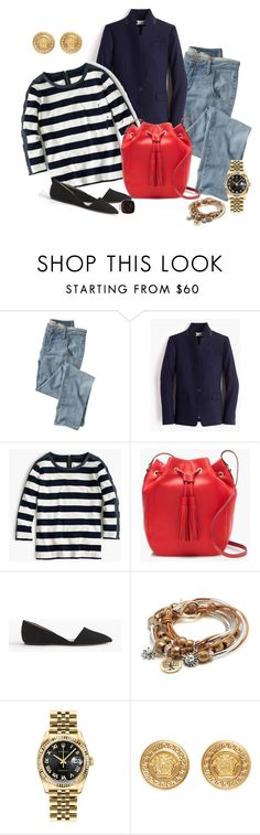 """Untitled #3149"" by mr-1 on Polyvore featuring Wrap, J.Crew, Lizzy James, Rolex, Versace, women's clothing, women, female, woman and misses"