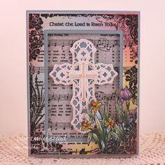 Stamps - Our Daily Bread Designs Christ the Lord Background, ODBD Custom Flourished Star Pattern Die, ODBD Custom Ornamental Crosses Dies, ODBD Shabby Rose Paper Collection