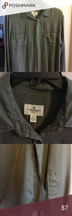 Lightly used olive green button down shirt 100% Lyocell, shirt pass hips American Eagle Outfitters Tops Button Down Shirts