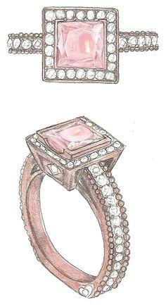 Mark Schneider Design - custom Inspiration with a halo and a pink sapphire center