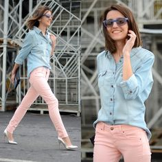 Pastel jeans + denim shirt (by Alexandra Per) http://lookbook.nu/look/3116561-Blanco-Shirt-Jeans-Bershka-Shoes-Ray%20Ban-Sunglasses