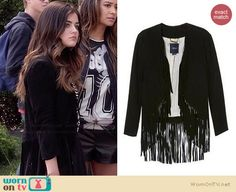 Aria's black fringed cardigan on Pretty Little Liars.  Outfit Details: http://wornontv.net/34579/ #PLL
