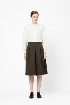 pleated wool skirt with crispy white shirt by COS