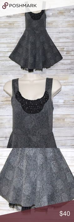 Free People gray sleeveless full skirt dress sz S Free People gray w/black embellishments on top full rose print skirt with tulle  sz S  Great Condition Free People Dresses