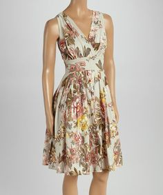 This Off-White & Rose Floral Empire-Waist Dress is perfect! #zulilyfinds