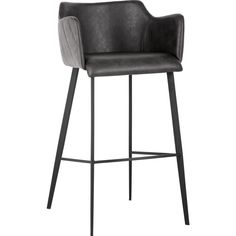 You'll ❤ The Sunpan Griffin Bar Stool Grey Leatherette Fabric Black Iron Legs 103244