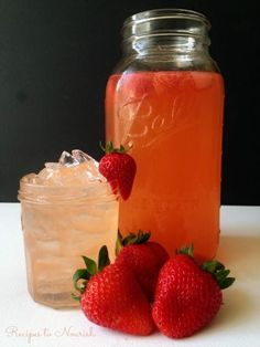 Strawberry Ginger Switchel ... a delicious, refreshing, fermented beverage. This naturally sweetened electrolyte drink is super easy to make and healthy too.   Recipes to Nourish