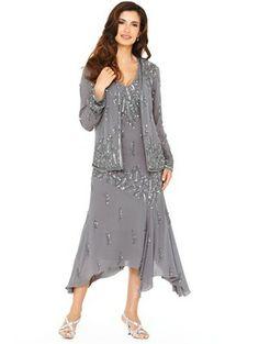 Embellished Dress and Jacket, Grey