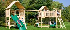 Play-a-Round Wooden Swing Set, Jungle Gym, Play Set | Cedarworks