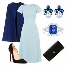 A fashion look from November 2017 featuring blue poncho, stiletto pumps and long bags. Browse and shop related looks. Elegant Outfit, Elegant Dresses, Pretty Dresses, Church Fashion, Work Fashion, Fashion News, Dress Outfits, Fashion Dresses, Royal Clothing
