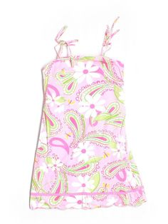 Girl Lilly Pulitzer Cheery-O Pink Paisley Floral Scalloped Sun Dress Size 7 #LillyPulitzer #EverydayDressyHoliday