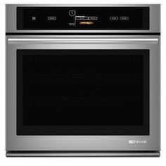 New Jenn-Air JJJW3430DS Single Electric Wall Oven in Euro-Style Stainless. This sleek wall oven has wifi capabilities to help monitor cooking progress. Set and start the oven remotely, as well as flip to warm once cooking is completed. Need to run to the store while the oven is running? No problem, let your app alert you while in the store that your meal is complete and you can switch to warm. @JennAir has given the cook more control in the kitchen with their state of the art appliances.