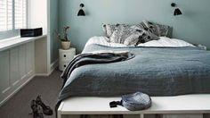 Bedroom decor, bedroom ideas, guest bedrooms, blue gray bedroom, be Cosy Bedroom, Bedroom Storage, Bedroom Decor, Bedroom Ideas, Trendy Bedroom, Modern Bedroom, Grey Carpet Hallway, Wall Carpet, Beige Carpet