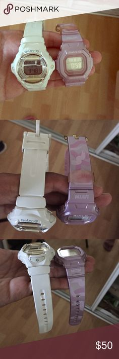 Baby-G Shock Watches: 2 for 1 All white baby-G shock watch and baby purple MTTM Baby-G shock watch G-Shock Accessories Watches
