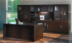 The AT35 Aberdeen Series desk set by Mayline is a popular configuration for large executive offices in need of ample storage. #ModernOfficeFurniture #MaylineFurniture