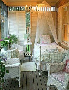 Lovely sleeping porch (gingham & shabby chic)!