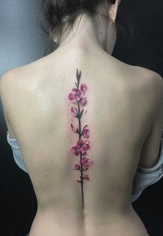 Sakura tattoo on back art by Mariya Beskorovaynaya Spine Tattoos, Thigh Tattoos, Body Art Tattoos, Tatoos, Rose Tattoo On Back, Flower Tattoo Back, Flower Tattoos, Rose Drawing Tattoo, Tattoo Sketches