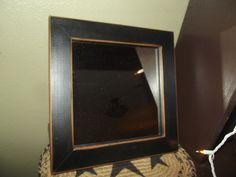 "Primitive 10"" Wood Framed Mirror ~ Black Distressed ~ Country Decor #NaivePrimitive"