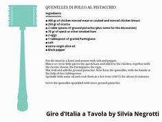 QUENELLES DI POLLO AL PISTACCHIO Smoked Ham, Mince Meat, Pistachio, Italian Recipes, Chicken, Pistachios