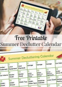 Spend as little or as much time as you want this summer decluttering. This free printable summer declutter calendar and tips will help focus on organizing.