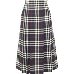 Burberry Pleated checked wool midi skirt ($995) ❤ liked on Polyvore featuring skirts, burberry, net-a-porter, navy, pleated midi skirt, blue skirt, flared skirt, pleated a line skirt and pleated skirt