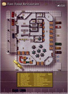 1336746700778.jpg (983×1364)                                                                                                                                                                                 More Restaurant Floor Plan, Fast Food Restaurant, Fantasy City Map, Shadowrun Rpg, D20 Modern, Building Map, Cyberpunk Rpg, Map Layout, Sci Fi Games