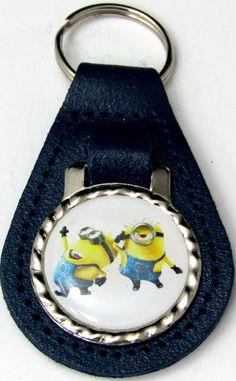 Minions Bob Stewart Strike a Pose Blue Leather Key Fob Chain Steel Ring FOB-0235