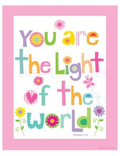 Kids Wall Art You are the light of the world by EllenCrimiTrent, $18.00