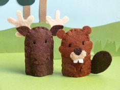 Felt Finger Puppets: Moose and Beaver
