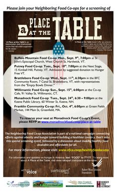 Take Your Place at the Table Event - Monadnock Food Co-op