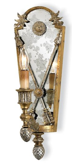 Silver and gold leaf electric wall sconce. Chatham Square Silver Gold Wall Sconce