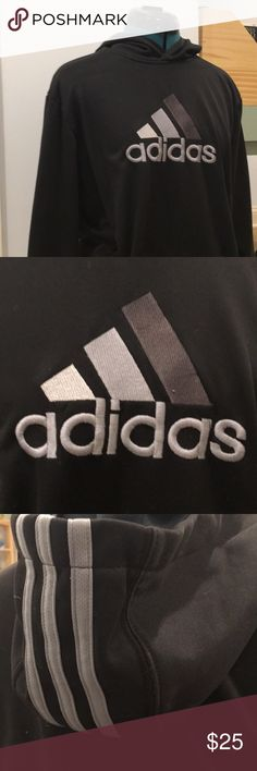 Black adidas hoodie. Well worn, but good shape with no visible damage. Should fit men's S,women's M adidas Tops Sweatshirts & Hoodies