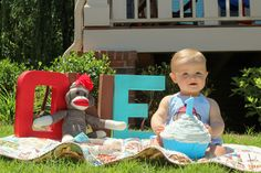 Sock Monkey 1st birthday photo