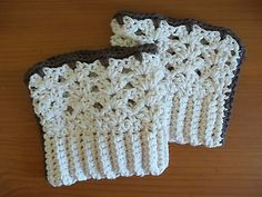 Womens Boot Cuffs Cotton Beige&Taupe Legwarmers Toppers Handmade