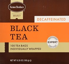 Farmer Brothers Decaf Tea Bags Black Tea 100 count -- See this great product. (This is an affiliate link and I receive a commission for the sales)
