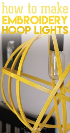 Orb Hanging Light | Create a bright and cheerful hanging light using embroidery hoops and some paint! Click for tutorial!