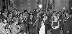 """Marilyn Monroe's arrival at a Press Conference at the Savoy Hotel in London to publicize her forthcoming film """"The Prince and The Showgirl"""", 1956."""