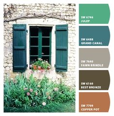 Paint colors from ColorSnap by Sherwin-Williams Green Exterior Paints, Exterior Paint Colors For House, Exterior Colors, Paint Color Schemes, Color Walls, Copper Colour Palette, Grey Color Pallets, Exterior Paint Combinations, Hot Tub Room