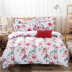 Multicolor Pastoral White Luxury Flower Bedding Set Home Textile Bed Cover Sets Duvet Cover Bed Sheet Pillowcase Sets