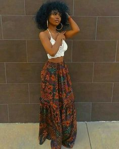 Blossom Maxi Boho Skirt - Summer Outfits for Work Black Girl Fashion, Look Fashion, Fashion Outfits, Fashion Ideas, Fashion Women, Fashion Quotes, Fit Black Girl, Black Girl Style, Black Girl Swag