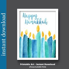 Pretty Hanukkah candles in a Printable instant download file for your personal use. Beautiful wall art decor for the holiday. Print it yourself, frame, and hang. Quick. Easy. Affordable. ► NO PHYSICAL PRINT WILL BE MAILED TO YOU This purchase is only for Instant Download digital