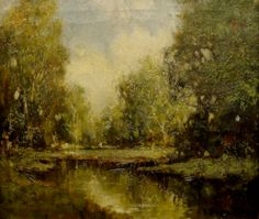 Enchanting setting in Forest Clearing by George Thompson Pritchard, 14x12 Oil Painting