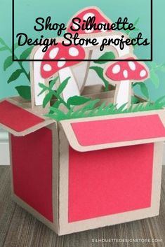 This darling box makes a sweet centerpiece or gift. The box part is sturdy and the ferns and mushrooms are arranged and added to create drama. Silhouette Projects, Silhouette Design, Design Projects, Craft Projects, Ferns, Toy Chest, Centerpieces, Stuffed Mushrooms, Drama
